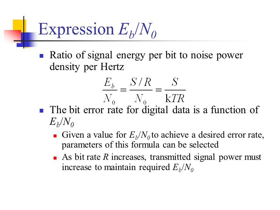 Expression Eb/N0 Ratio of signal energy per bit to noise power density per Hertz. The bit error rate for digital data is a function of Eb/N0.