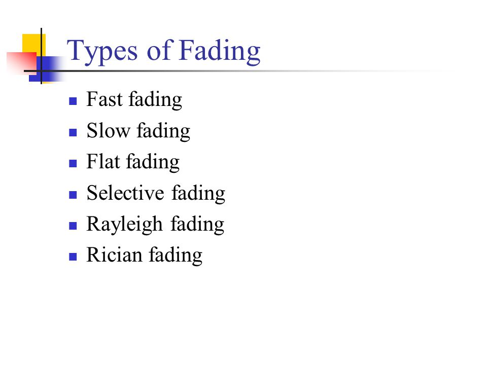 Types of Fading Fast fading Slow fading Flat fading Selective fading