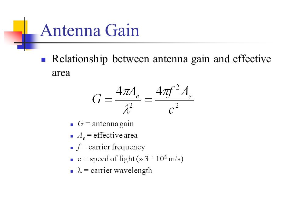 Antenna Gain Relationship between antenna gain and effective area
