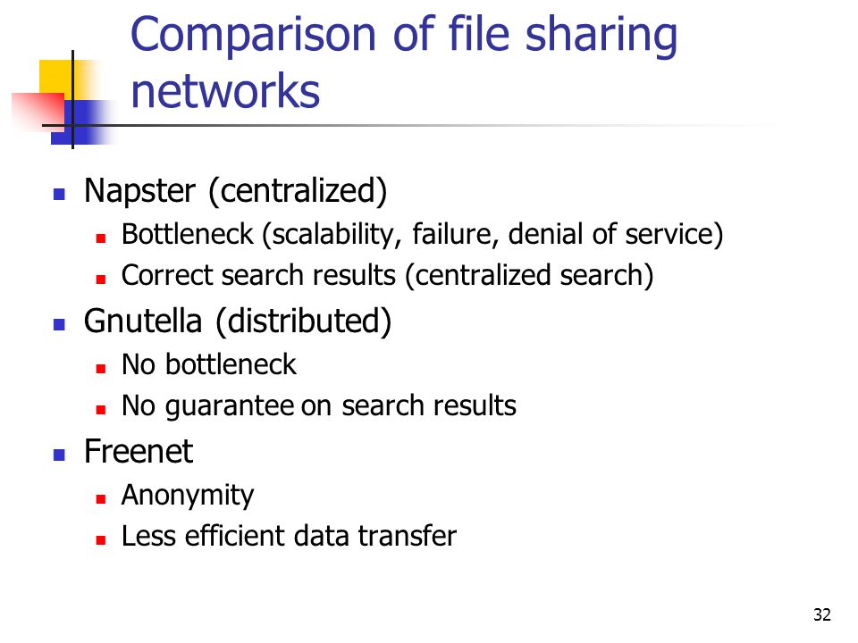 "a comparison of the communication networks napster and gnutella Is centralized examples of file-sharing pure p2p systems are gnutella and freenet, where every node is a ""servent"" (both a client and a server), and can equally communicate with any other connected node."