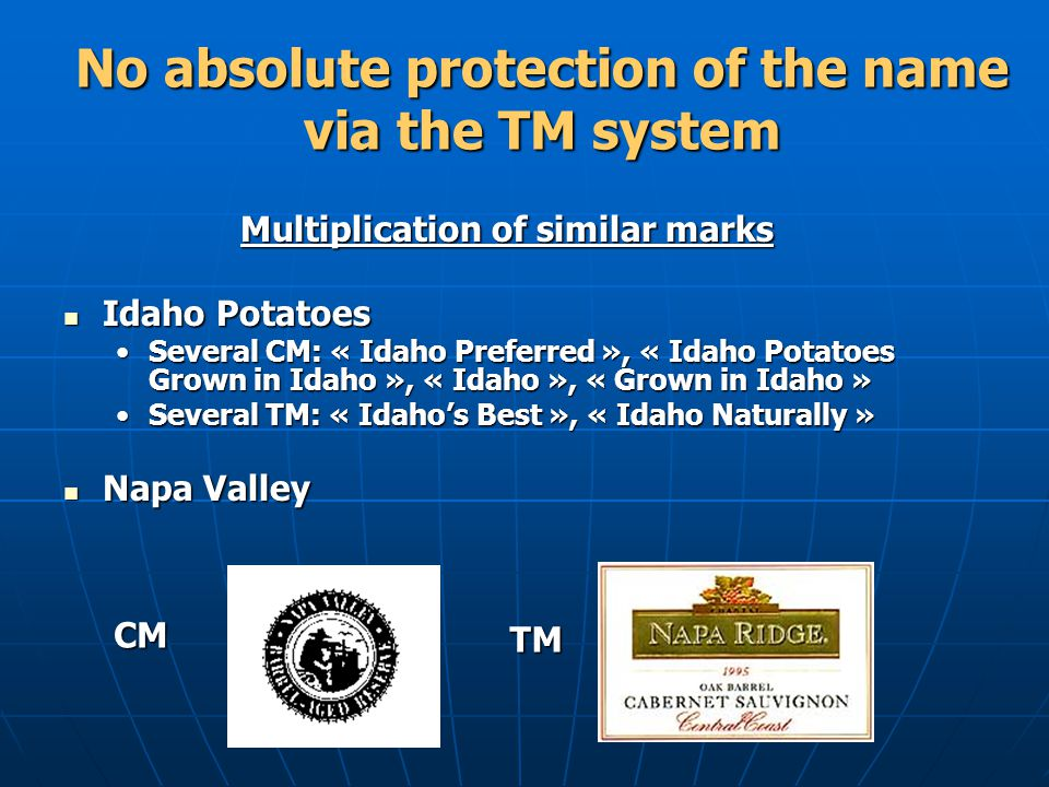 No absolute protection of the name via the TM system