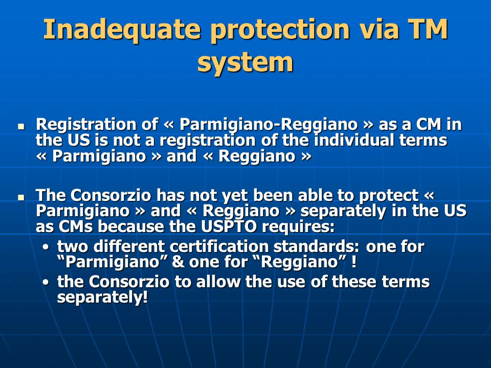 Inadequate protection via TM system