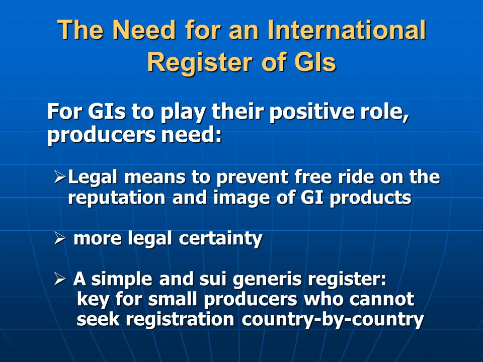 The Need for an International Register of GIs