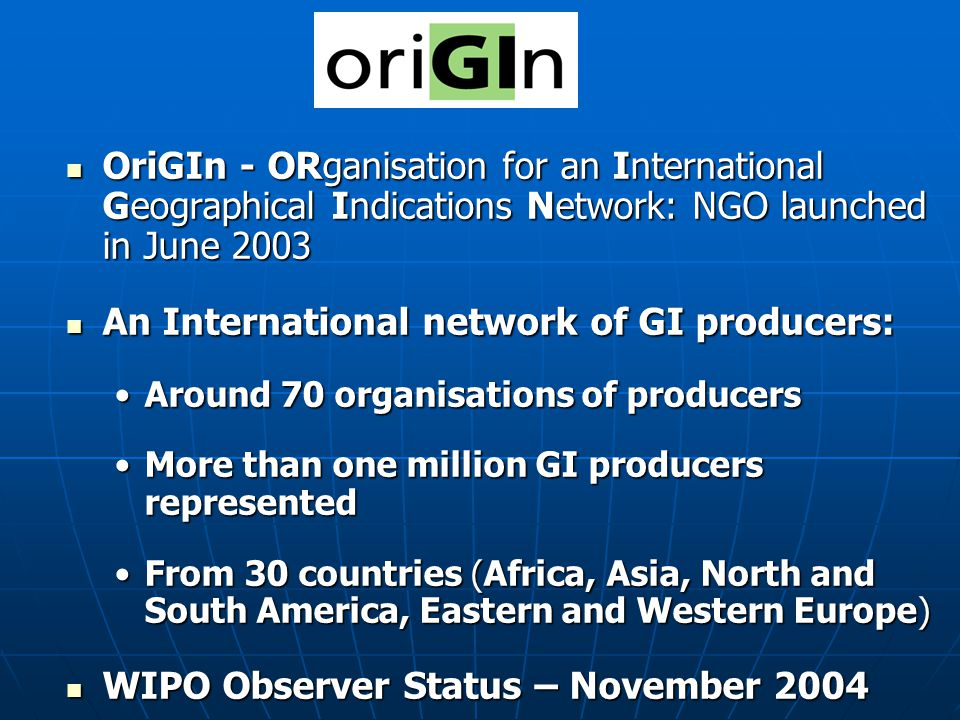 An International network of GI producers: