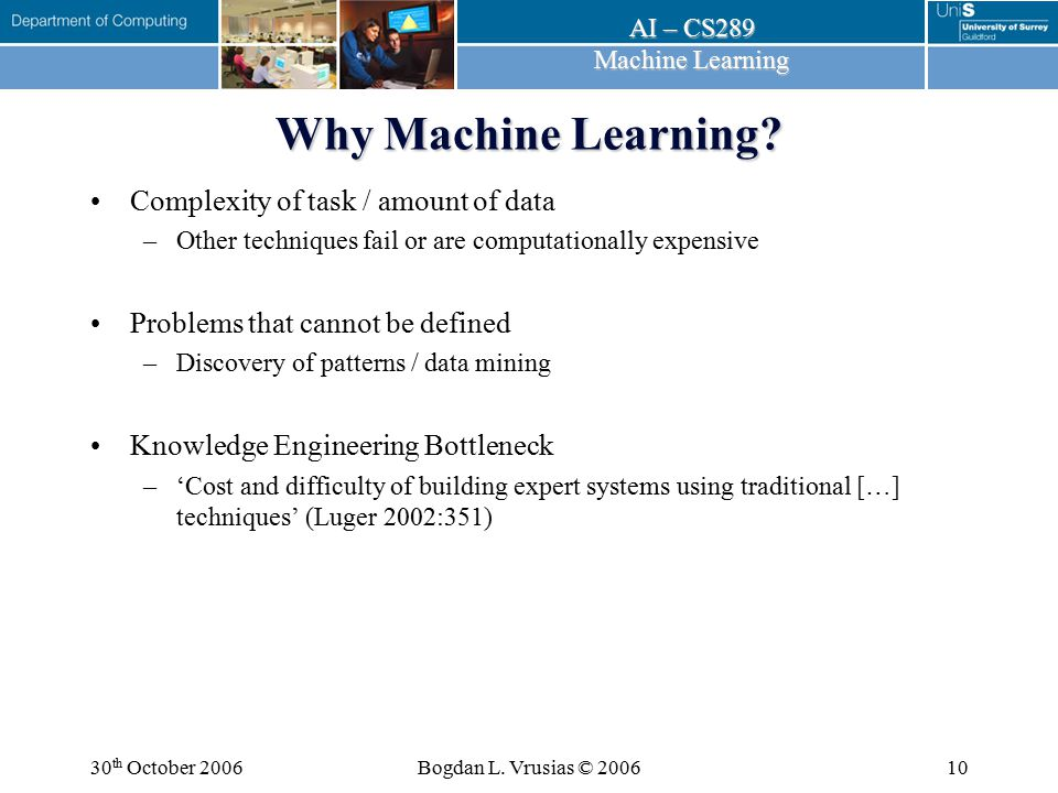 Why Machine Learning Complexity of task / amount of data