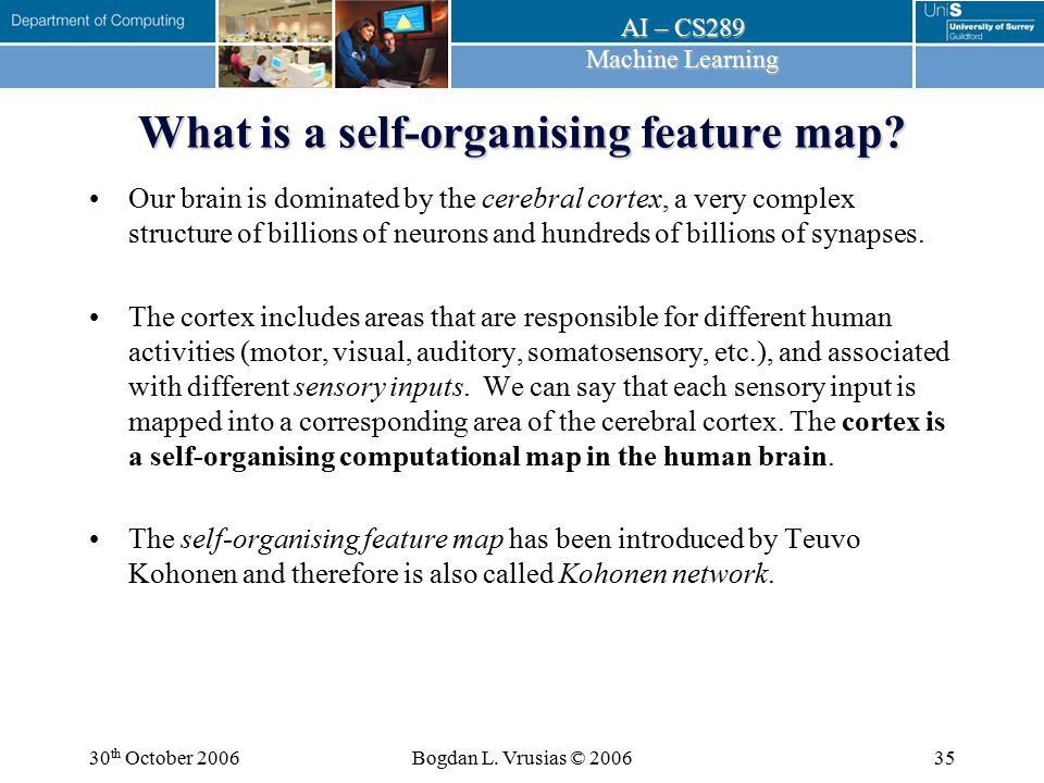 What is a self-organising feature map
