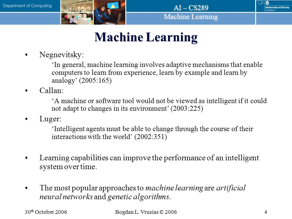 Machine Learning Negnevitsky: Callan: Luger: