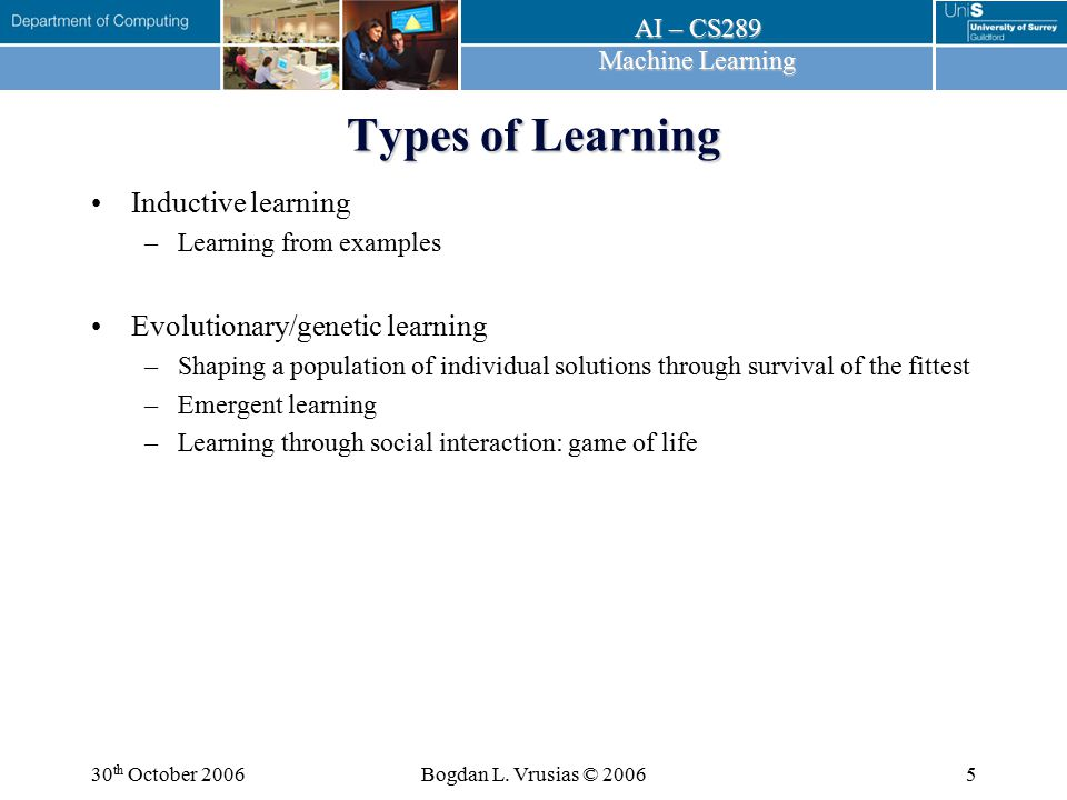 Types of Learning Inductive learning Evolutionary/genetic learning