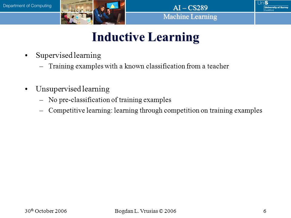 Inductive Learning Supervised learning Unsupervised learning
