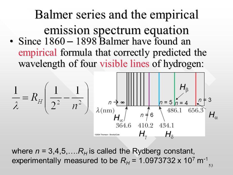 Spectral line series of hydrogen