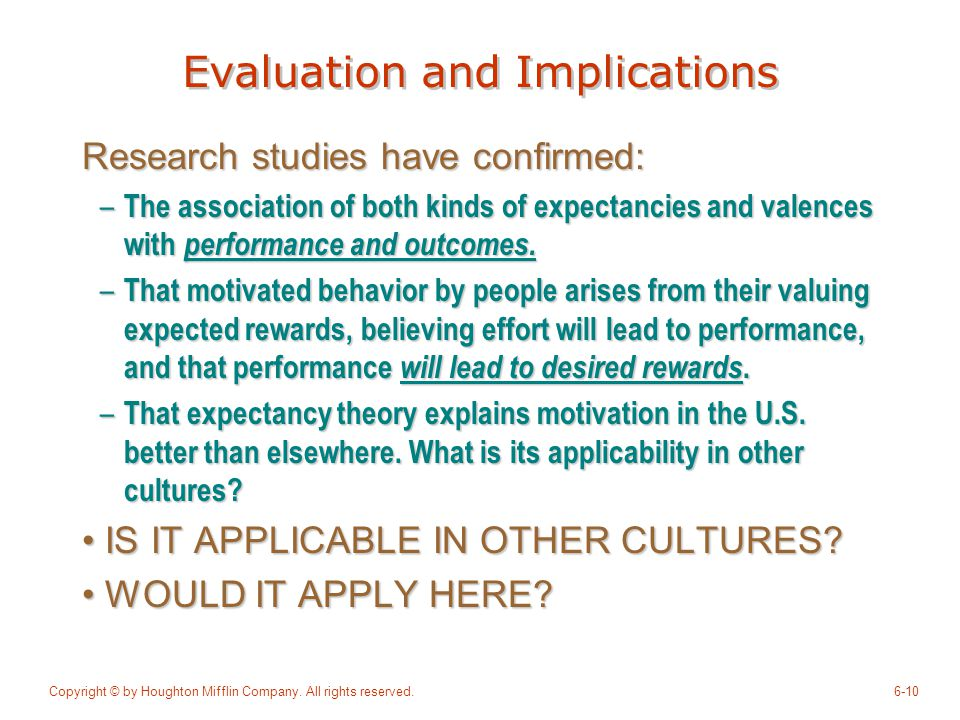 Evaluation and Implications