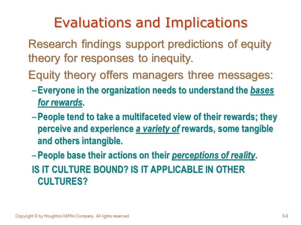 Evaluations and Implications