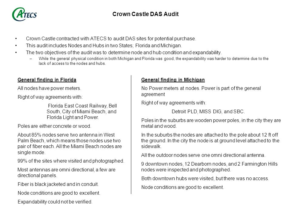 Crown Castle DAS Audit Crown Castle contracted with ATECS to audit DAS sites for potential purchase.