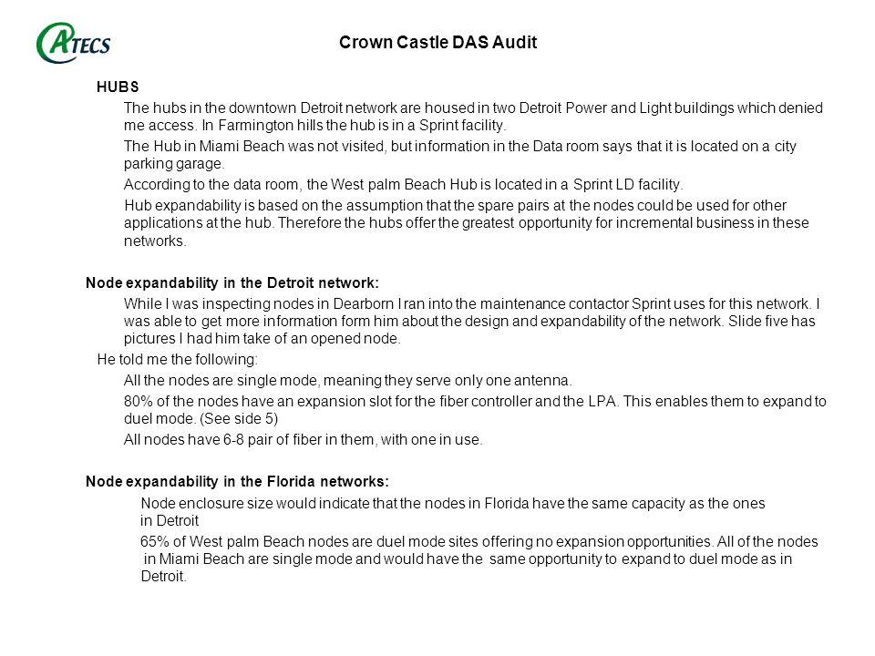 Crown Castle DAS Audit HUBS