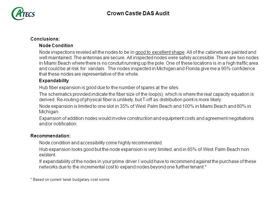 Crown Castle DAS Audit Conclusions: Node Condition