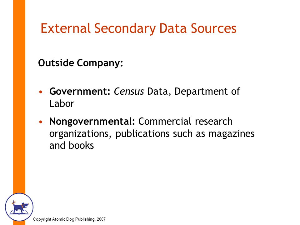 secondary data sources To help the reader to recognise the transition, in marketing research, from a  dependence upon published sources of secondary data to electronically stored.