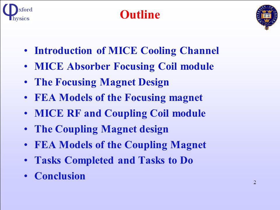 Outline Introduction of MICE Cooling Channel