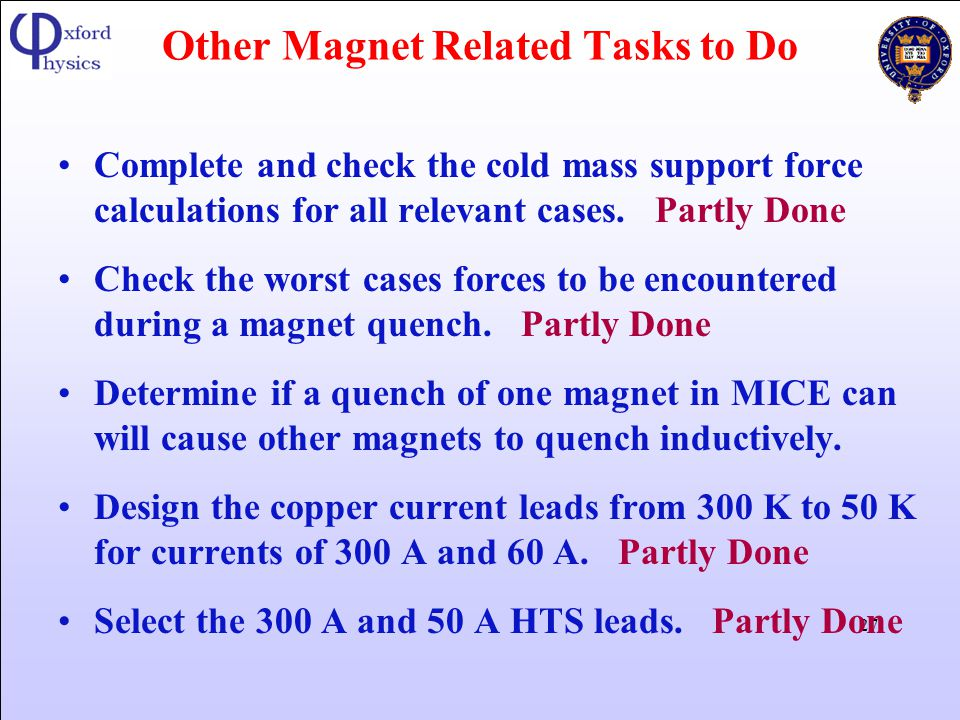 Other Magnet Related Tasks to Do