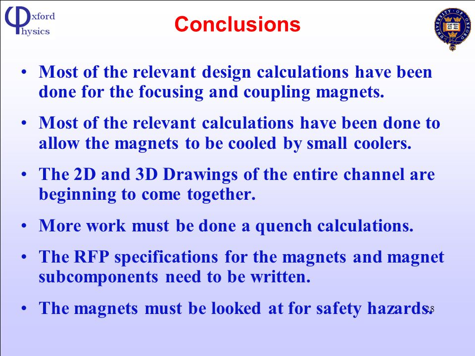 Conclusions Most of the relevant design calculations have been done for the focusing and coupling magnets.