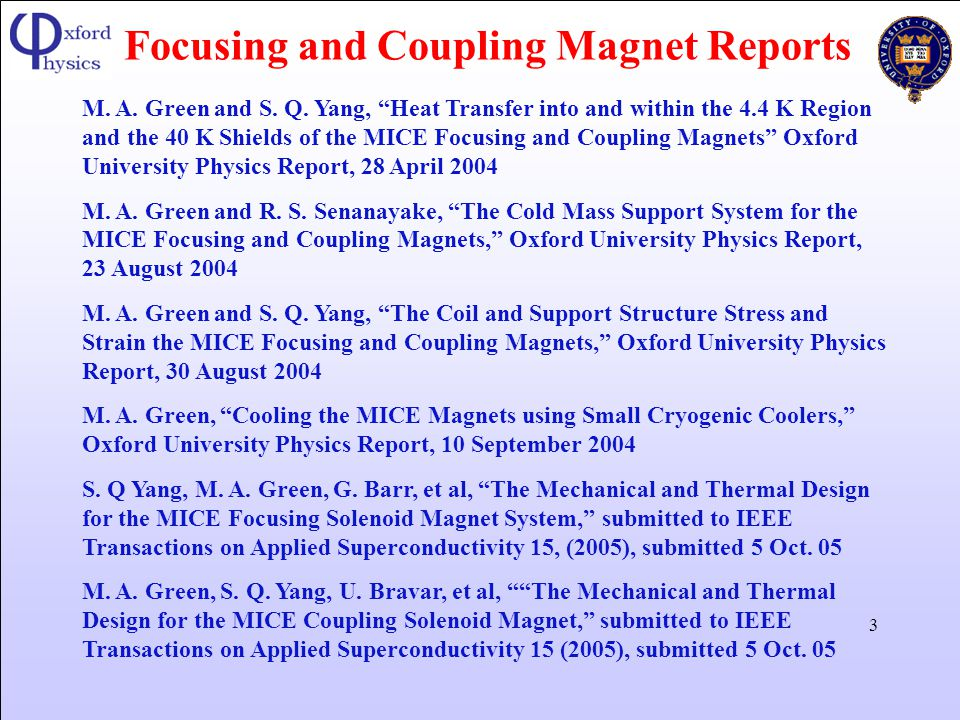 Focusing and Coupling Magnet Reports