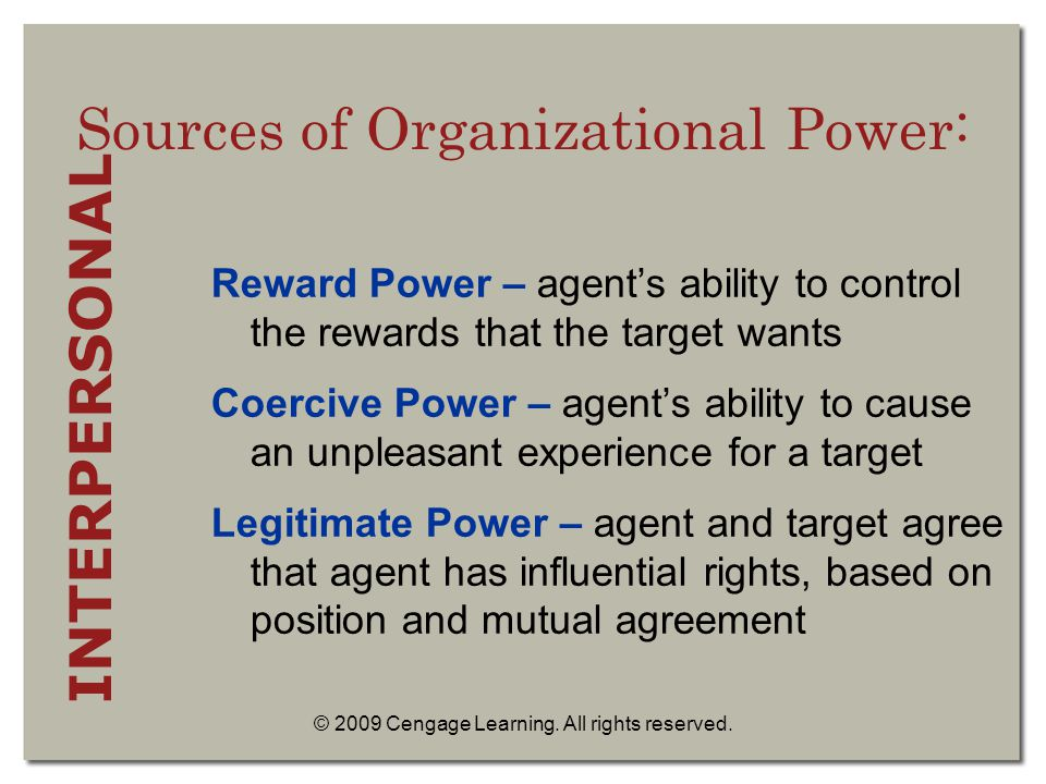 sources of power in an organisation The main points within the main subject i am focusing on are power in organizations, sources of power, the dark side of power, and empowerment i will define each, apply them to every day business situations and theoretically analyze the context.