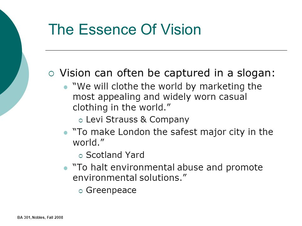 Examples List on A Market Analysis For Levi Strauss And Co Vision