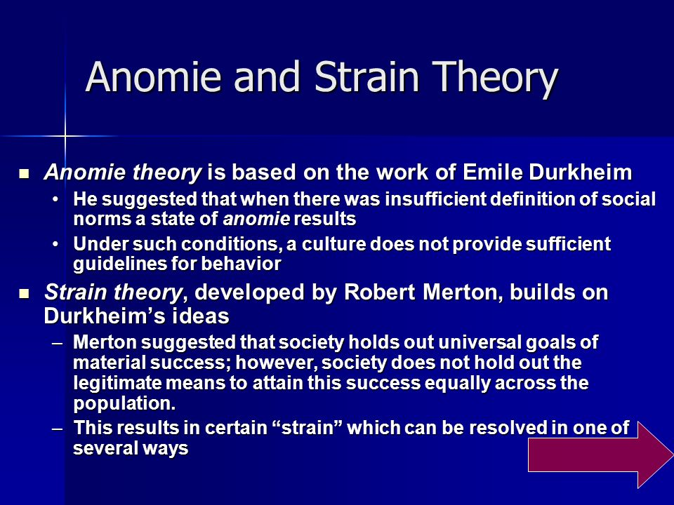 anomie durkheims theory This sixth volume advances in criminological theory is testimony to a resurgent interest in anomie-strain theory, which began in the mid-1980s and continues unabated.