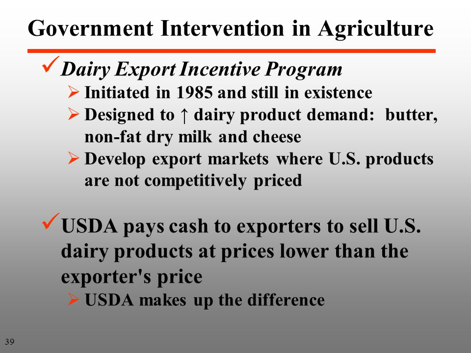 agricultural markets without government intervention Essay: government intervention and its disadvantages  in a sense, the way the government is involved in the agricultural sector is a necessity  small and big businesses are guilty of.