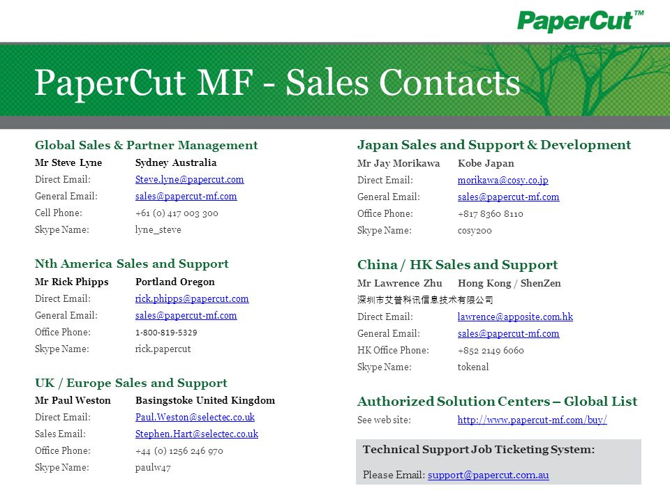 PaperCut MF - Sales Contacts