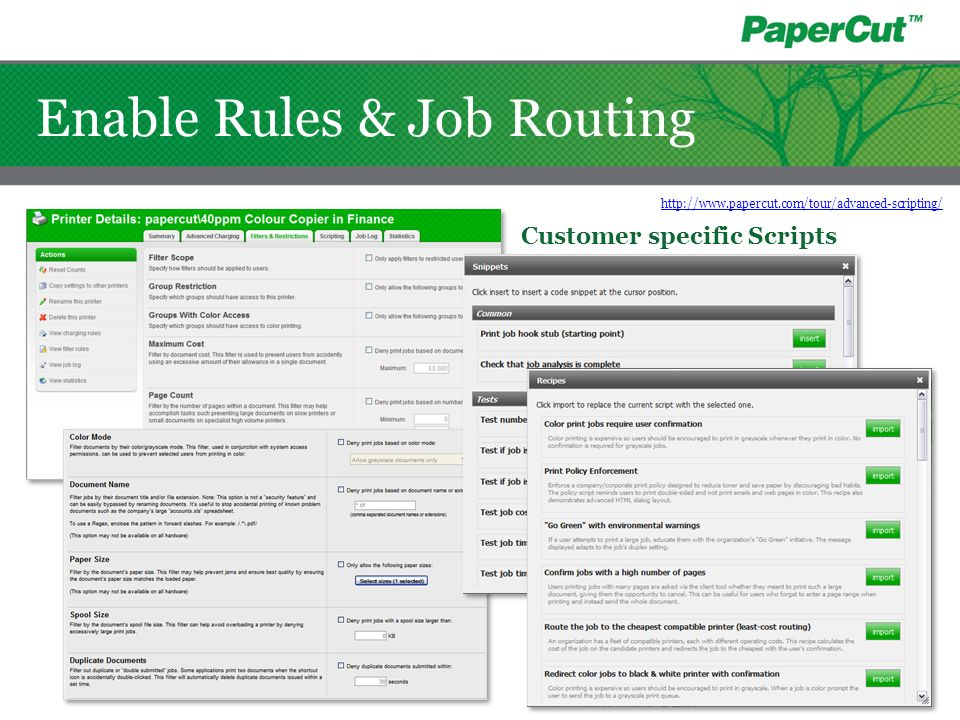 Customer specific Scripts