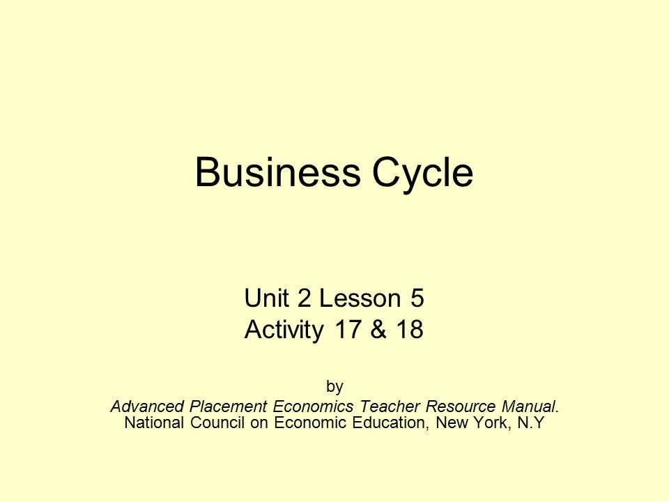 Business Cycle Unit 2 Lesson 5 Activity 17 18 By