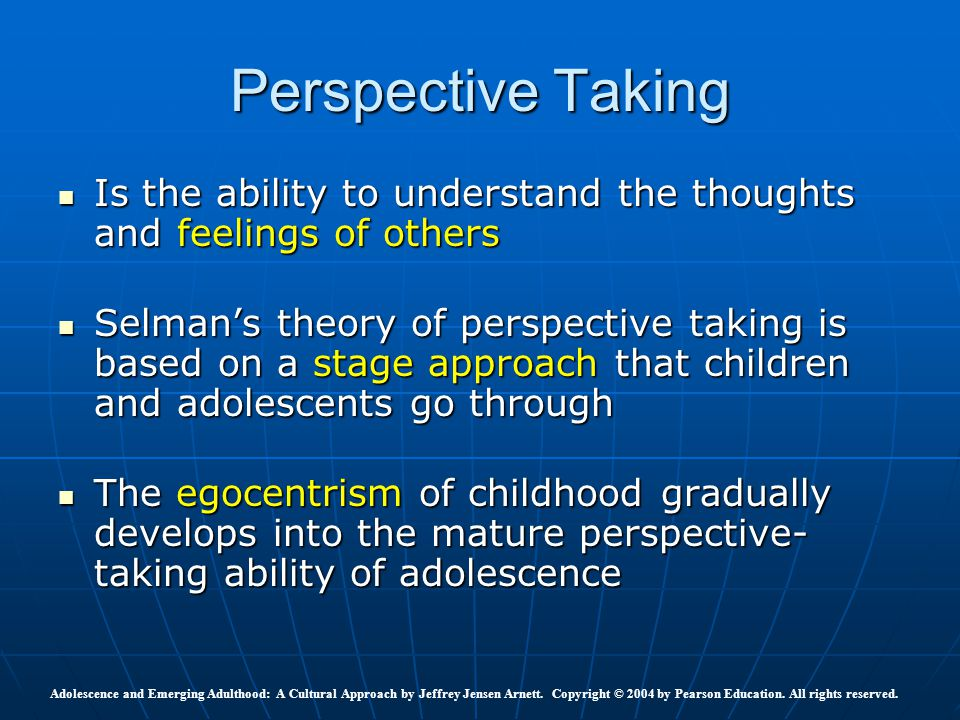 aspects of adolescent egocentrism Adolescent egocentrism (intense preoccupation with one's own feelings and   the characteristics of adolescent thinking, like other aspects of.