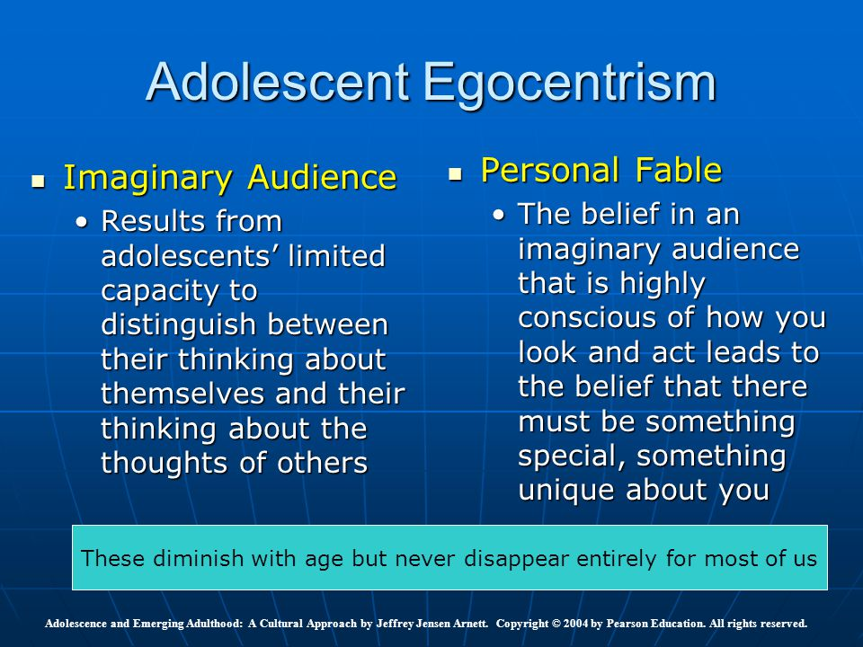 personal fable Free adolescence egocentrism, imaginary audience, and personal fable papers, essays, and research papers.