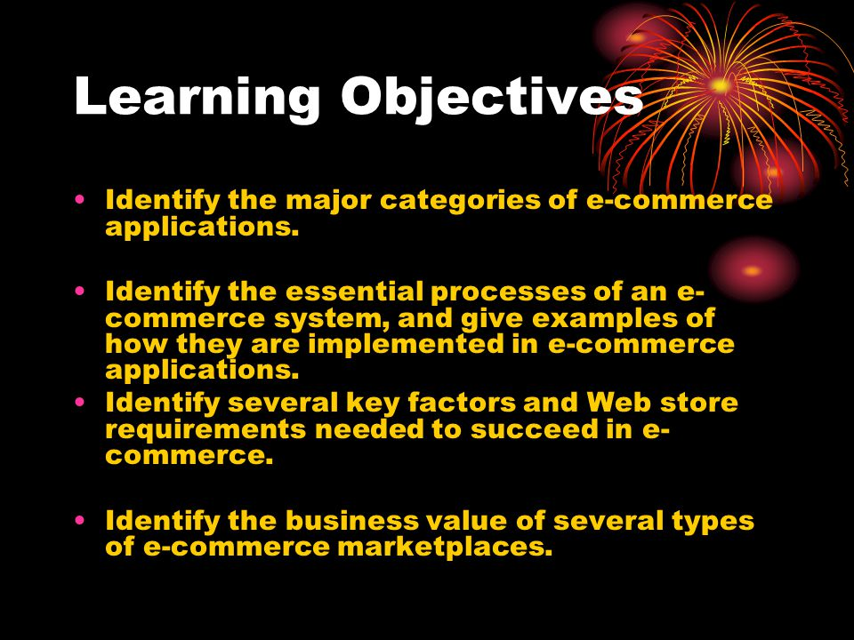 Learning Objectives Identify the major categories of e-commerce applications.
