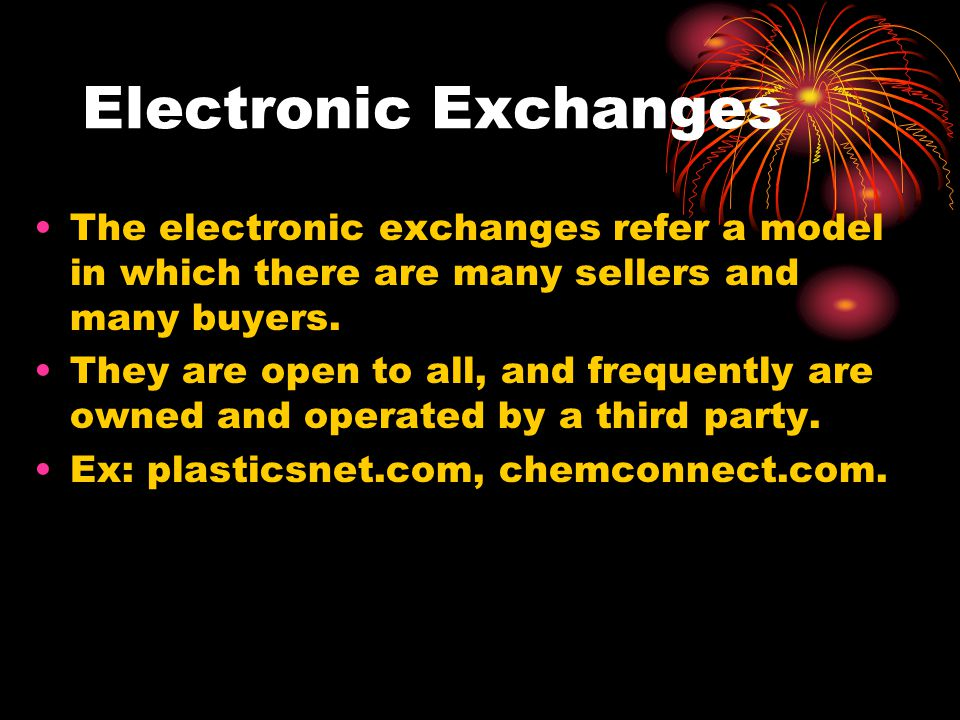 Electronic Exchanges The electronic exchanges refer a model in which there are many sellers and many buyers.