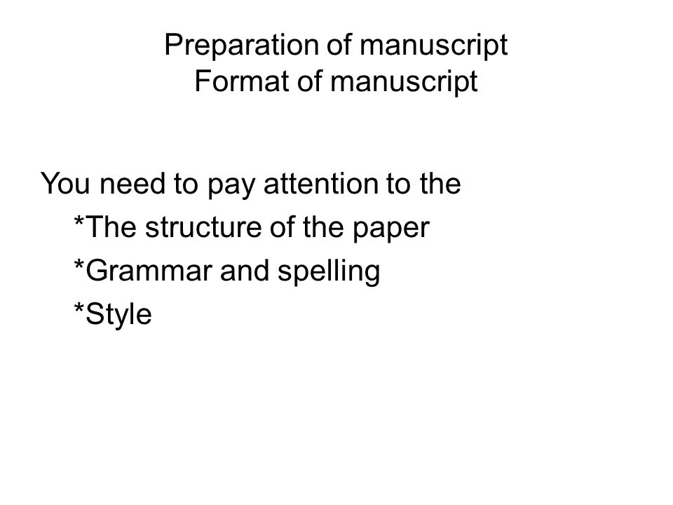 how to prepare a manuscript for publishing