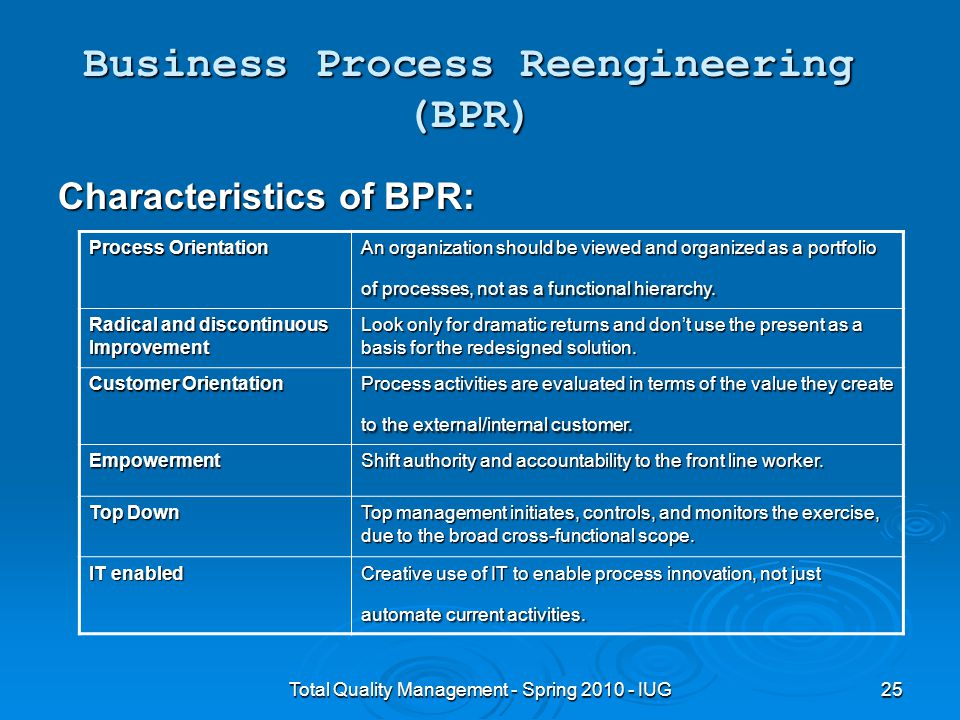 comparing total quality management and business process re engineering (1994) define bpr as the critical analysis and radical redesign of existing business processes to achieve breakthrough improvements in performance measures how does bpr differ from tqm teng et al (1994) note that in recent years, increased attention to business processes is largely due to the tqm (total quality.