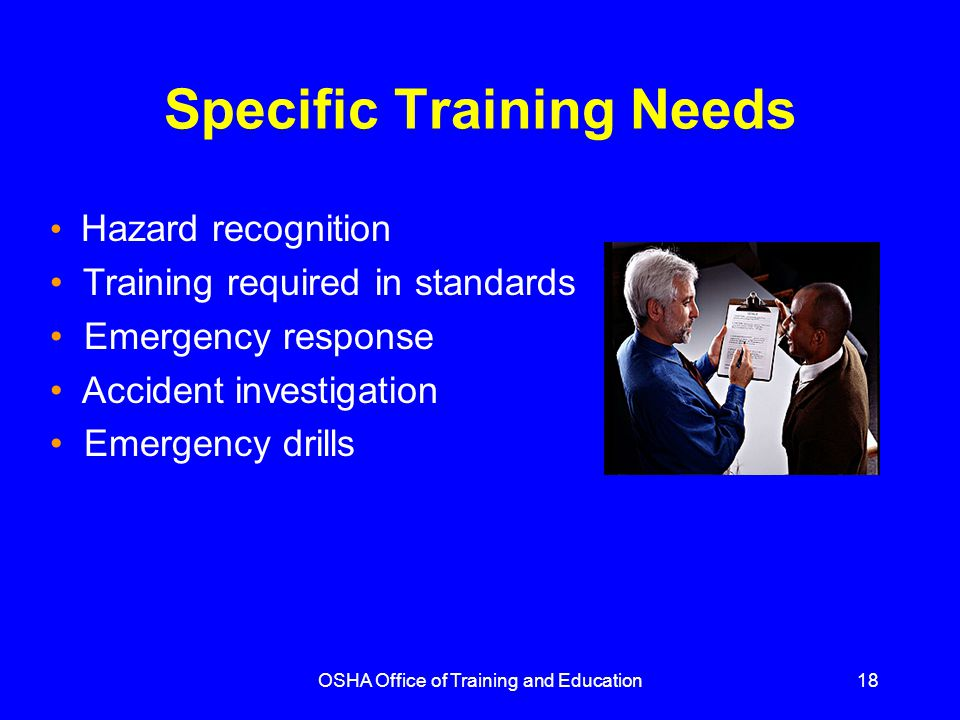 Specific Training Needs
