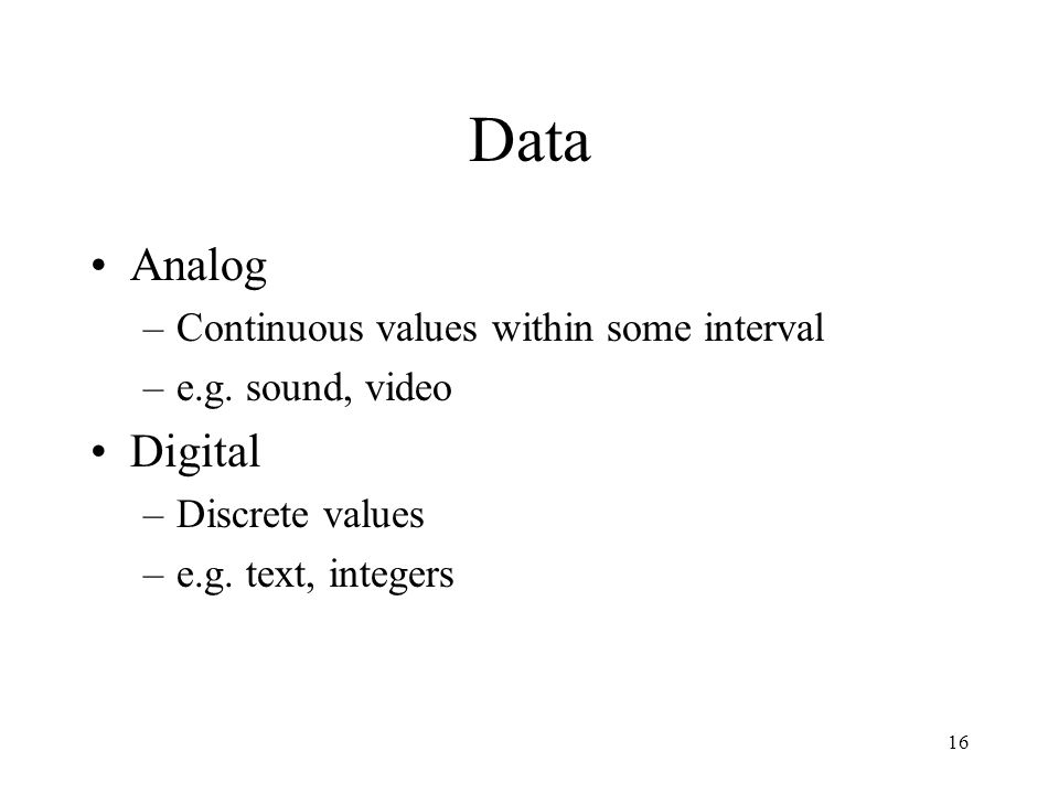 Data Analog Digital Continuous values within some interval