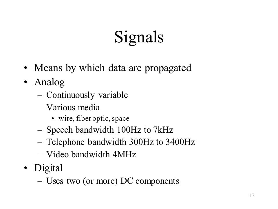 Signals Means by which data are propagated Analog Digital