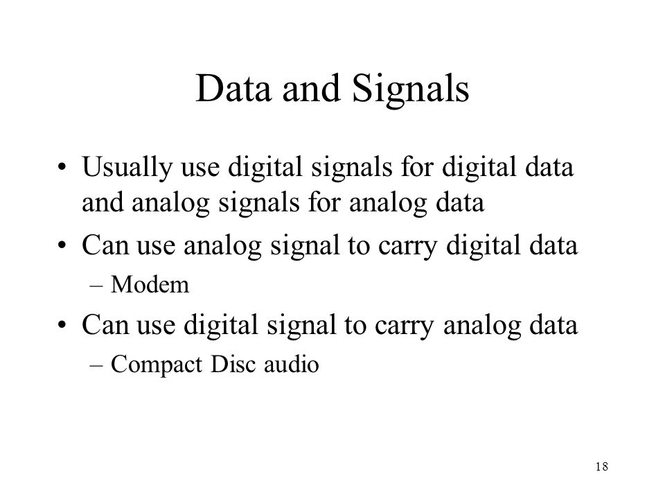 Data and Signals Usually use digital signals for digital data and analog signals for analog data. Can use analog signal to carry digital data.