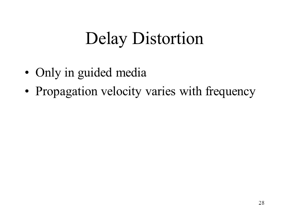 Delay Distortion Only in guided media