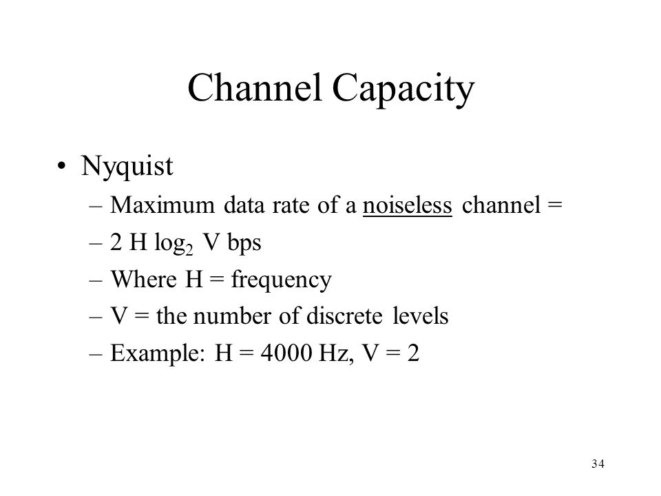 Channel Capacity Nyquist Maximum data rate of a noiseless channel =