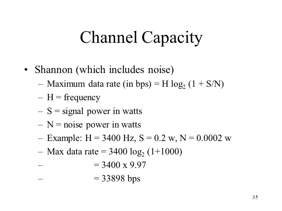 Channel Capacity Shannon (which includes noise)
