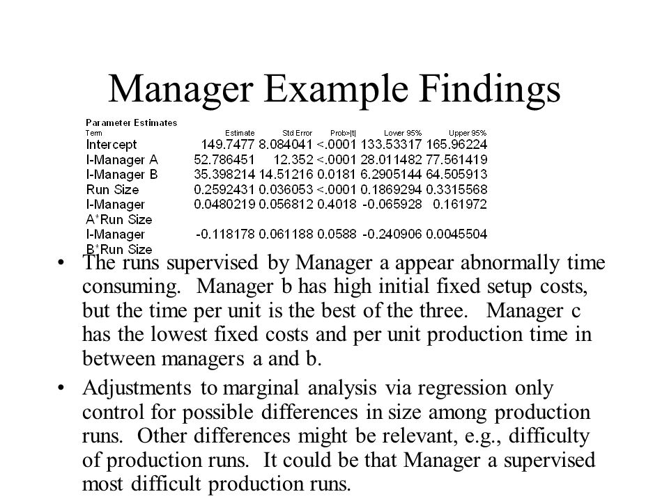 Manager Example Findings