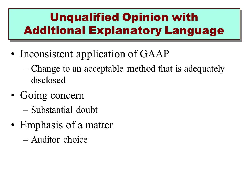 Unqualified Opinion with Additional Explanatory Language