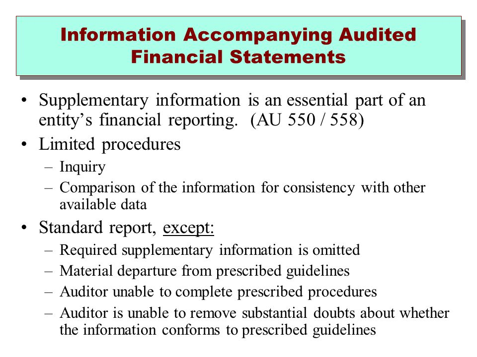 Information Accompanying Audited Financial Statements