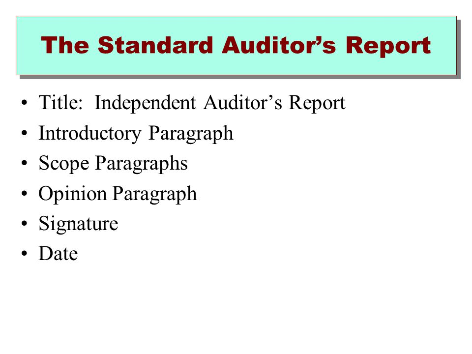The Standard Auditor's Report