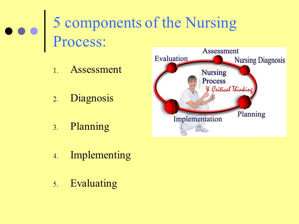 5 components of the Nursing Process: