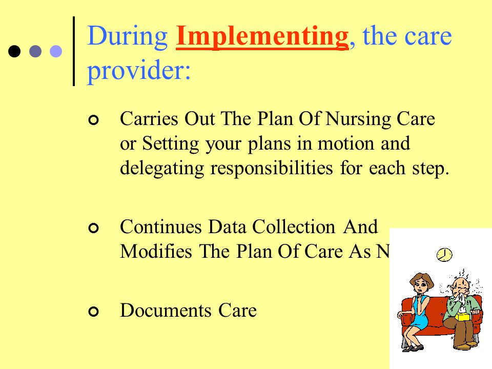 During Implementing, the care provider: